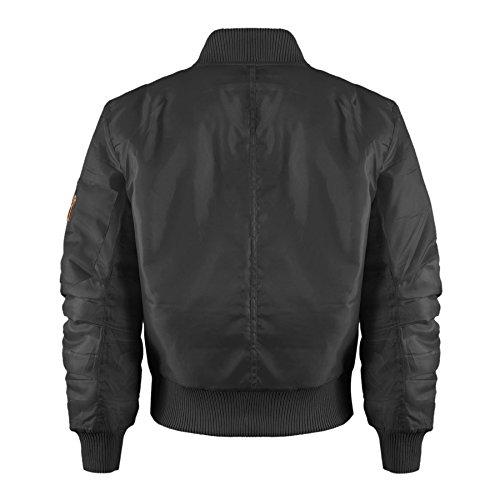 Kinder Mädchen Jungen Kinder Bomber MA1 Stil Jacke Piloten Biker Taschen Mantel Jahre – Schwarz, 92-98 - 3