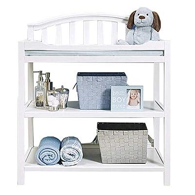 5-in-1 White Changing Table with Storage,Nursery Girls Boys Infants Massage Dresser Bathtub Station - Wooden