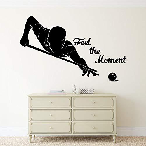 EricauBird Feel The Moment Wandtattoo Billiard Player Vinyl Sticker Motivation Zitate Home Interior Art Decor (46nr) Einfach anzubringen und zu entfernen, leicht anzubringen und zu entfernen