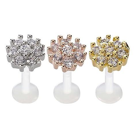 SL de collection Lot de 3lèvres Piercing helix Tragus Bioflex Fleurs Cristal