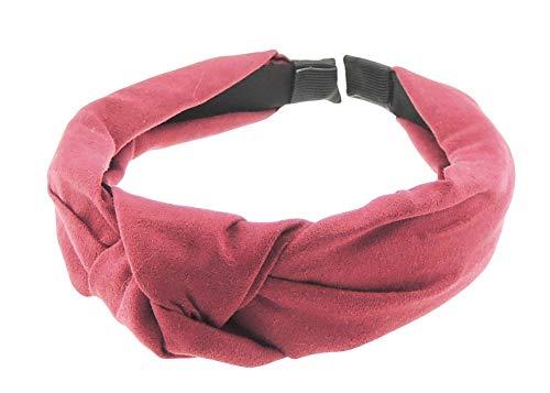 Diadema de invierno suave para mujer, con lazo en la parte superior del nudo, aspecto de ante rojo granate talla única