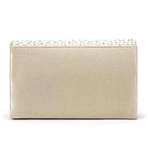 Internet Femmes Diamant Sac à bandoulière Satin Portefeuille Forme d'enveloppe 21*13*5cm Beige