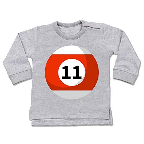 12 Elf Monate 18 Kostüm - Shirtracer Karneval und Fasching Baby - Billardkugel 11 Kostüm - 12-18 Monate - Grau meliert - BZ31 - Baby Pullover