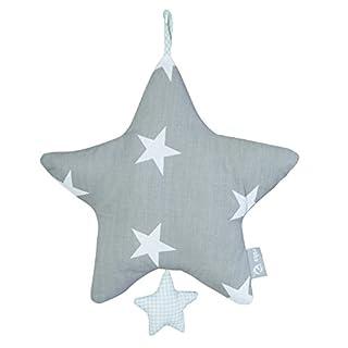 roba Spieluhr 'Little Stars', Baby Einschlafhilfe, Textil-Stern waschbar, Babyzimmer Deko grau / weiß