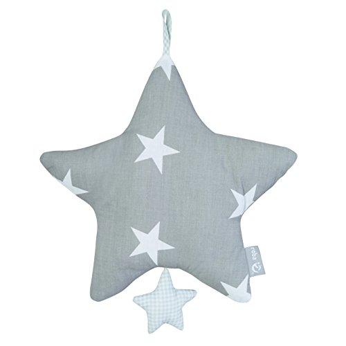 roba Spieluhr \'Little Stars\', Baby Einschlafhilfe, Textil-Stern waschbar, Babyzimmer Deko grau / weiß