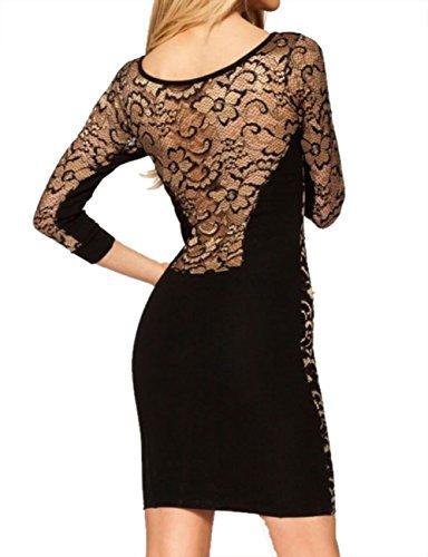 E-Girl Sexy partie trois quart Chemise dentelle robe Vintage en noir,Noir Noir