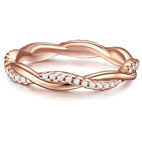 Tresor 1934 Damen-Ring Verlobungsring Sterling Silber in Rosegold-Farben mit Zirkonia weiß in Brilliant-Schliff - Wickelring mit Stein Trauring geschwungen rosévergoldet