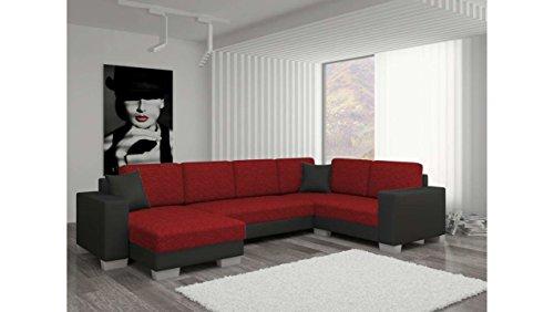 JUSTyou Marco II Canapé d'angle panoramique Sofa Ensemble de Salon Tissu structuré Simili Cuir (lxLxH): 145-206x303x86 cm Noir Rouge Angle Gauche