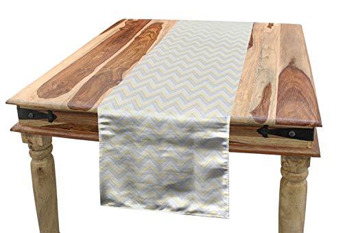 ABAKUHAUS Grau Tischläufer, Weinlese Chevron Artsy, Esszimmer Küche Rechteckiger Dekorativer Tischläufer, 40 x 225 cm, Gelb Grau
