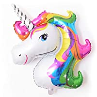 TMY Useful Colorful Unicorn Balloon Aluminum Unicorn Horse Decorated Birthday Floating Unicorn Horse Head Balloon