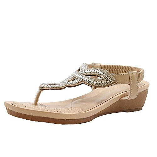 fc620408347 SAUTE STYLES Ladies Womens Low Wedge Diamante Summer Party Comfy Toe Post  Sandals Shoes Size 7 - Buy Online in Oman.