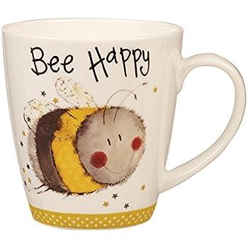 8d6281a47fe Alex Clark AC Sparkle Cherry BEE Happy Mug 360ML OP STK 6, Ceramic  Multi-Colour, 8.9 x 8.9 x 9.5 cm