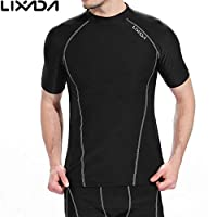 Decdeal Men Short Sleeves Quick Drying Breathable Sports T-shirt Compression Shirt for Indoor & Outdoor Workout Fitness