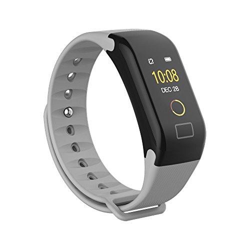 Jiameng smartwatches - braccialetto intelligente da polso per il monitoraggio frequenza cardiaca dell'ossigeno per la misurazione della pressione sanguigna colore schermo orologio grigio