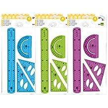 juego escuadra 10 cm cartabon 14 cm regla 30 cm y semicirc. plastico flexible en petaca liderpapel colores surtidos
