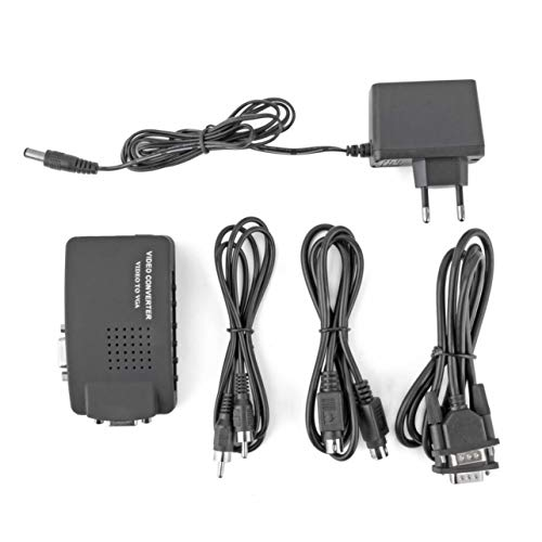 WOSOSYEYO PC Laptop Composite AV / S-Video zum VGA-TV-Konverter Monitor Adapter Switch Box LCD Out-Konverter-Adapter-Schalter-Kasten Schwarz Out Lcd-monitor