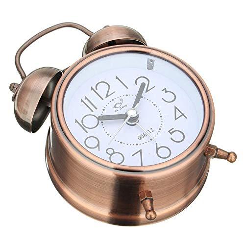 FOWYJ Retro Metallring Wecker Stumm Lampe Student Schlafzimmer Alarm Bett Kreative Kleine Wecker Antike Uhr (Wecker Antike Kinder)