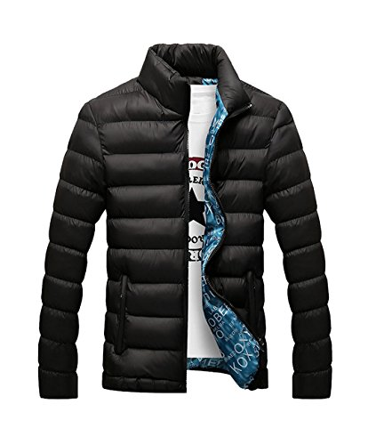 Herren Verpackbar Stehkragen Leicht Warmer Winter Jacken Puffa Gepolstert Mantel Schwarz