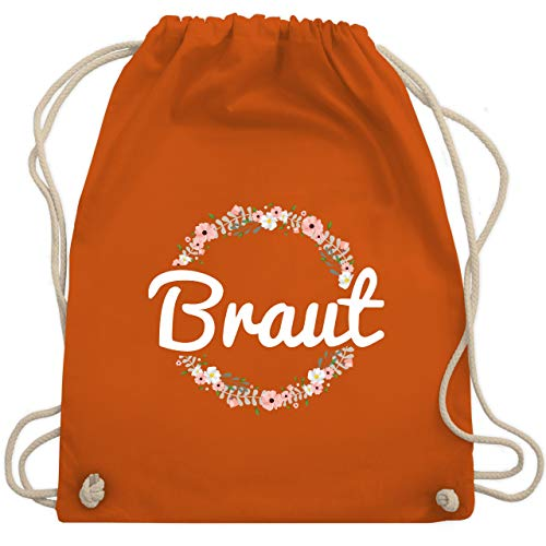JGA Junggesellinnenabschied - Braut Blumenkranz - Unisize - Orange - WM110 - Turnbeutel & Gym (Alle Orange Kostüm)