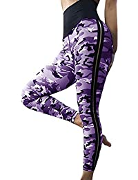 VJGOAL Moda Casual para Mujer Camuflaje con Cintura Alta Yoga Leggings Fitness Correr Pilates Pantalones de chándal de Alta Elasticidad Nueve Pantalones