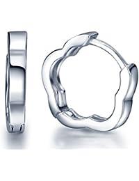 Infinite U pendientes tipo argollas de plata de ley 925con un estilo simple para mujeres/niñas