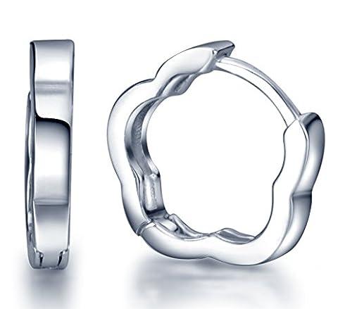 Infinite U Simple Style 925 Sterling Silver Flower Hoop Earrings for Women/Girls