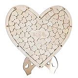 goforwealth Livre d'or De Mariage Livre d'or De Mariage - Cœur en Bois Blanc M INCL. Fournitures De Mariage Amour Coeur en Bois