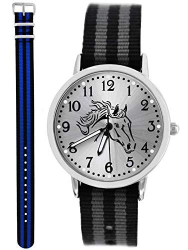 Uhr Pferd Analog Quarz mit 2 Textilarmband schwarz grau blau 10666 ()