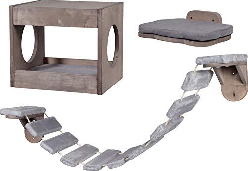 dobar 3-teiliges Katzenmöbel-Set mit Katzenhöhle, Katzenleiter und Liegefläche zum Anbringen an der Wand