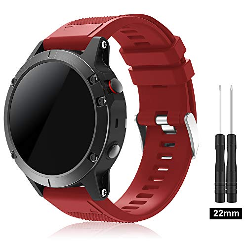 TOPsic Garmin Fenix 5 Cinturino, Braccialetto Morbido di Ricambio in Silicone per Garmin Fenix 5 / forerunner 935 Smart Watch (NON...