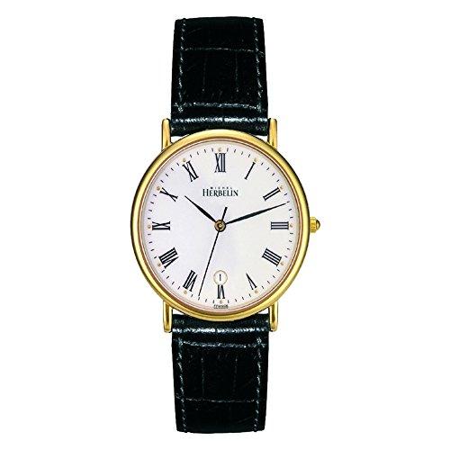 Michel Herbelin Unisex Erwachsene Analog Uhr mit Leder Armband 12443/P01