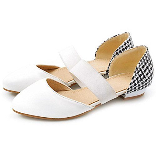 TAOFFEN Femmes Simple Talons Bas Escarpins white