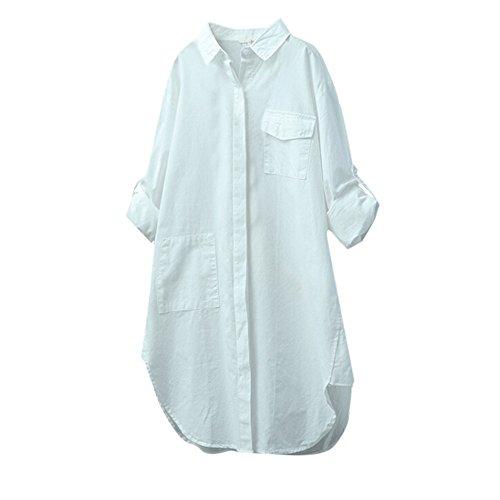 VECDY Damen Jacken,Räumungsverkauf-Damen Baumwolle Leinen Casual Solid Langarmhemd Bluse Knöpfe unten Lässiges Langarmhemd(Weiß,2XL)