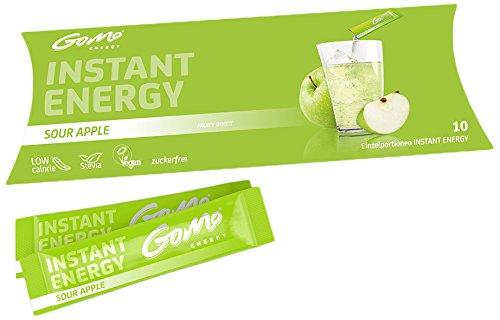 GoMo ENERGY zuckerfreier Vitaldrink, vegan, mit Stevia│+ 80mg Koffein + Vitamin-B-Komplex hochdosiert I Energie Getränk zur Leistungssteigerung│ Sour Apple 10 Einzelportionen (10 x 5.3g)