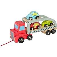 ColorBaby - Camión remolque 3 coches de madera, 28 cm (43619)