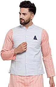 NEUDIS by Dhrohar Cotton Nehru Jacket/Waistcoat for Men - White &