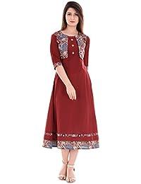 Yash Gallery Women's Maroon Cotton Slub Jacket Style Kurta
