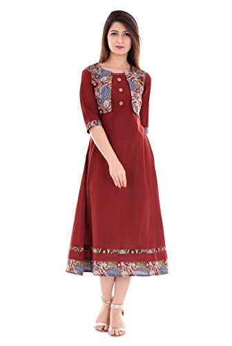 Yash Gallery Women's Maroon Cotton Slub Jacket Style kurta