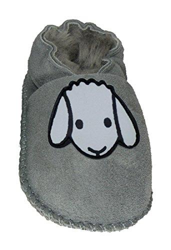 Plateau Tibet - Chaussons bébé avec doublure en VERITABLE laine d'agneau - 2 couleurs: GRIS - MARRON - Mouton Gris (Gray)