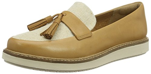 Clarks glick castine, mocassini donna, marrone (light tan lea), 39.5 eu