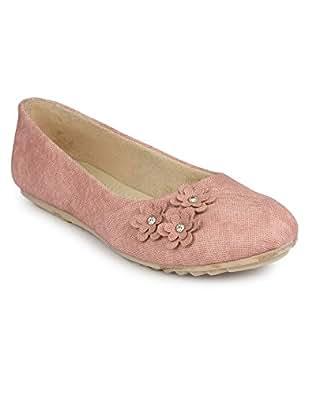 Shezone Women's Pink Synthetic Ballerinas