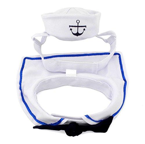 Kostüme Ideen Wettbewerb (smalllee _ Lucky _ store Pet Cat Sailor Kostüm für Mädchen Jungen Mütze Navy Fliege Halsband Cape)
