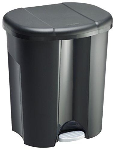 Rotho Trio Mülleimer zur Mülltrennung mit 3 getrennten Inneneimer, Kunststoff (PP), schwarz, 1 x 10 Liter + 2 x 15 Liter -