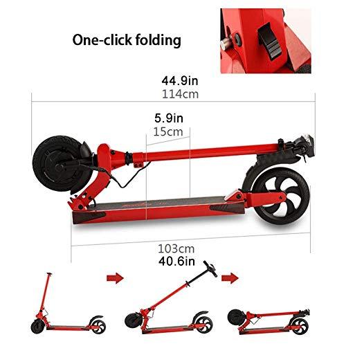 IG Mini Faltbarer Elektroroller für Erwachsene E-Roller mit 350W Motor, Höchstgeschwindigkeit 12.4 Mph, Elektroroller mit USB-Aufladung, Rot 30Km -