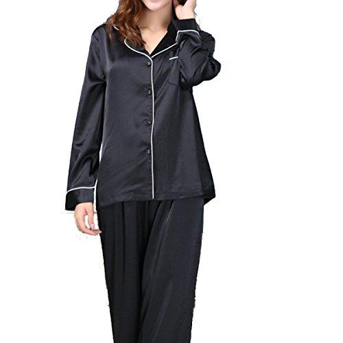 WS @ WX1023 Mme Soie à Manches Longues Pyjama Black