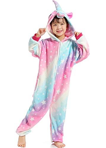 Z-Chen - Kinder Pyjama Strampler Schlafanzug Tier Kostüm für Halloween Karneval Fasching, Einhorn Stern Kostüm, Gr. 140/146 (Herstellergröße (Sterne En Kostüm)