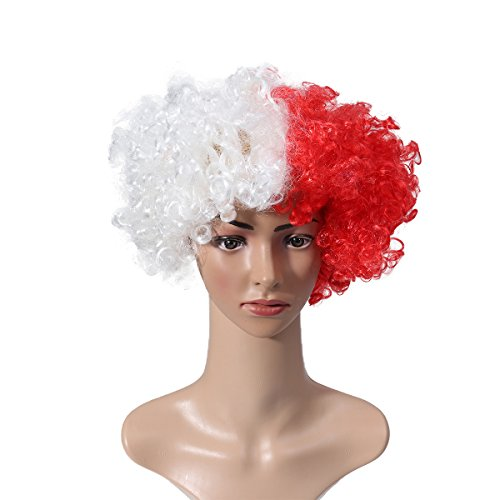 Polen Halloween Kostüm - LUOEM 2018 WM Nationalflagge Perücke Maskerade