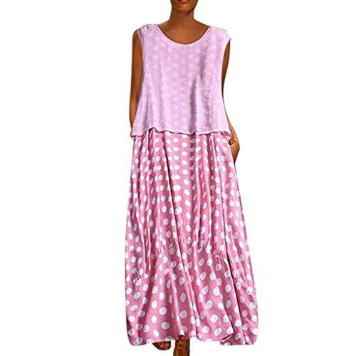 Zegeey Damen Kleid Retro ÄRmellos V-Ausschnitt BöHmen Blumen Drucken Sommer Maxikleid Sommerkleider Strandkleider Blusenkleid(A3-Rosa,EU-40/CN-XL) (Blumen-mädchen-kleider Navy In Blau)