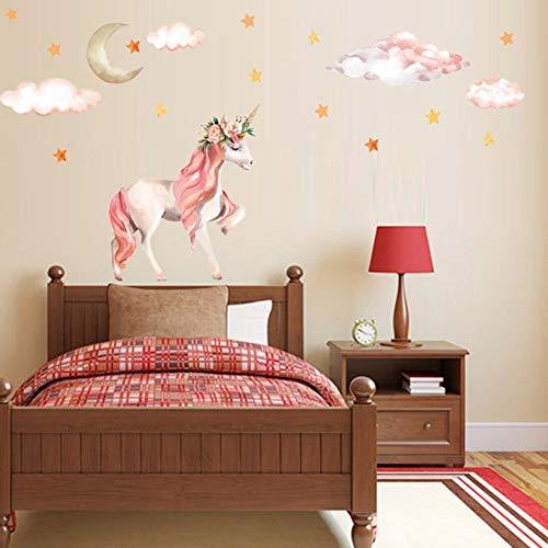 Magie Licorne Stickers Muraux Coloré Animaux Cheval Étoiles Stickers Muraux Pour Enfants Filles Chambre Affiche Papier Peint Décor À La Maison - Schwarz Cheval Spiegel