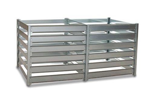 myowngreen Komposter - 93 x 182 x 87 cm (B x L x H) Doppelbox - aus feuerverzinktem Metall - individuell endlos erweiterbar - Trennung von frischem und...